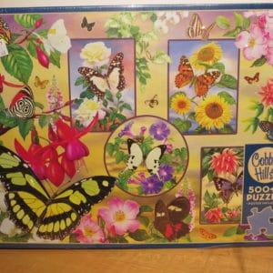 insets of butterflies and flowers decorate a background garden scene