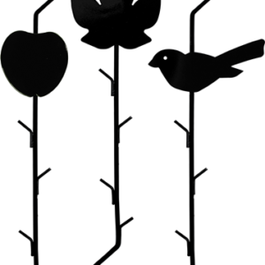 three rods with hooks on each end with an apple, maple leaf and bird shape on each one