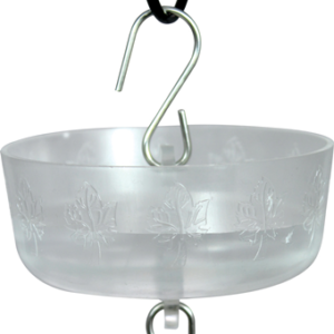 a clear plastic bowl hangs from a hook and has another hook attached to the bottom