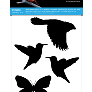 a set of back vinyl silhoettes of a hawk, hummingbirds and butterfly
