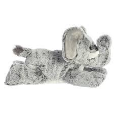 grey fluffly stuffed elephant
