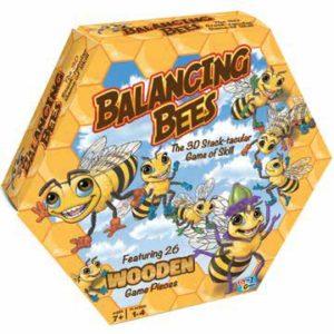 honeycomb shaped box with cartoonish bees and blue sky
