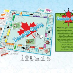 Canada-Opoly game board is open showing game in progress