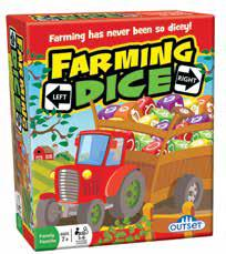 game box with a red tractor pulling a wagon filled with coloured dice