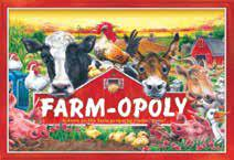 A menagerie of farm animals look around a red barn with the words Farm-Opoly