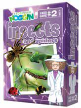 purple box with Professor Noggin looking at spider, praying mantis, lady bug and bee