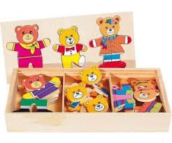 a wooden box with papa bear, mama bear and baby bear