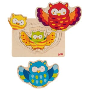 four colourful owls in wooden frame