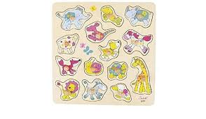 lots of colourful cute acartoon animals on pullout puzzle pieces