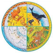 circle puzzle divided into tour sections with bear, tiger, seal and camel