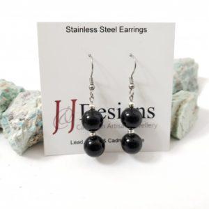 black two stone earrings
