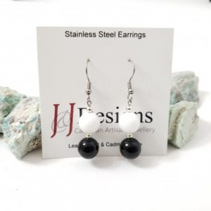 Black & White Two Stone Stainless Steel Stone Earrings