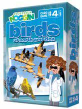 blue box has professor Noggin looking at Canada geese, blue birld and yellow bird