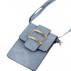 blue mini purse with buckle