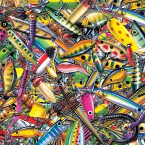a mish mash of neon coloured fishing lures