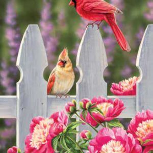 puzzle cardinal and peonies