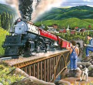 Two boys and a dog watch a stream train chug over a trestle bridge as it leave a town