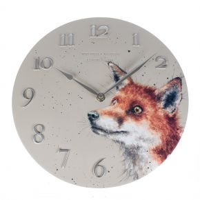round grey clock with fox face