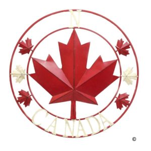 circle with red maple leaf with compass points and Canada