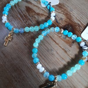 turquoise glass beads with cactus charm
