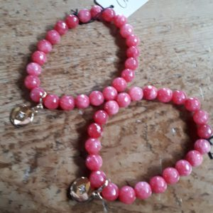 Bracelet - Coral Glass with Gold Charm with glass sparkle