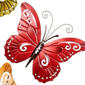 Garden Decor -  Red Metal Butterfly