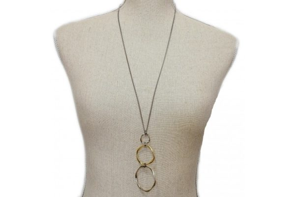 Ladys Charm Long Circle Necklace shown as worn