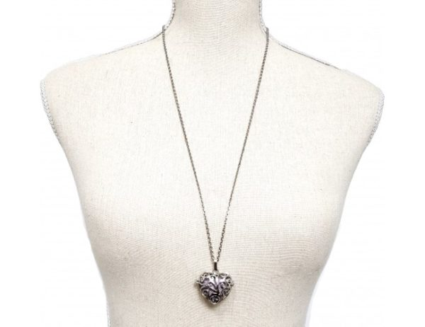 lava heart necklace shown as worn