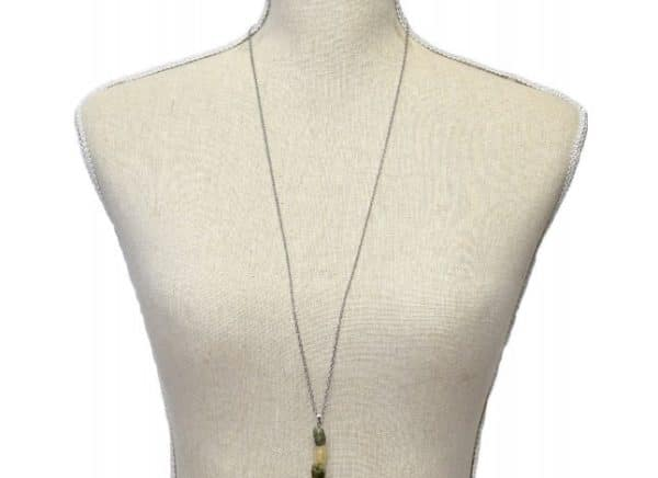 design prehnite stone necklace shown as worn