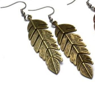 two feather bronze earrings