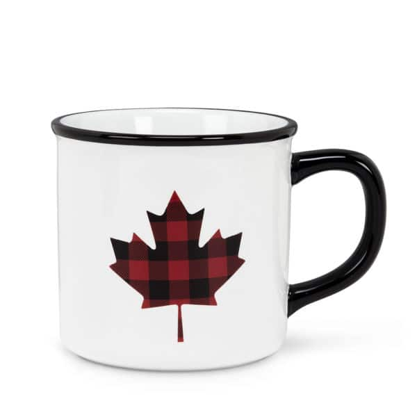 Buffalo Plaid Maple Leaf Mug - The iconic Maple Leaf in iconic Buffalo Plaid for those cold Canadian days where a hot bevy is exactly what you need to stay warm.