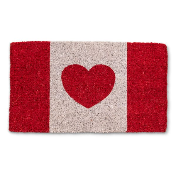 coir mat with Canada Flag with heart centre