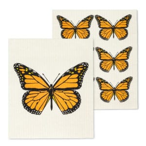 Monarch butterflies on swedish dishtowels