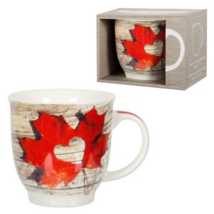 Large mug with maple leaf and cut out heart
