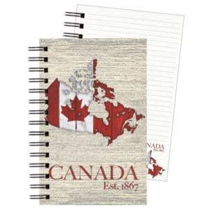 journal map of Canada with flag on country shape, ring bound