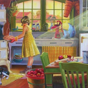 young girl with an apple pie in an old-fashioned country kitchen