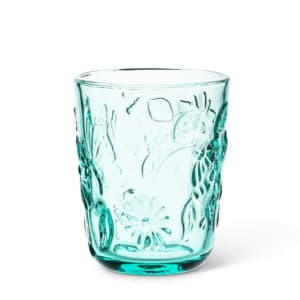 blue tinted butterfly glass tumbler