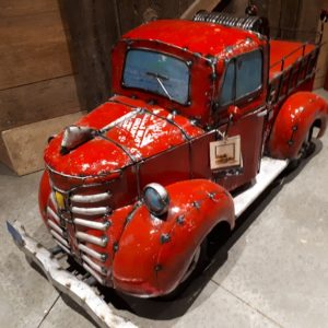 recycled metal fire truck cooler