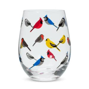 Multi Bird Stemless Goblet