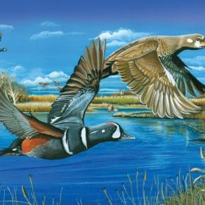 Harlequin Romance puzzle of ducks over marsh