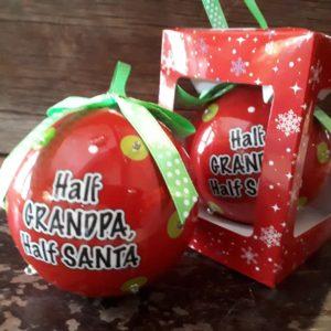 Half Grandpa Half Santa Sparkling Ornament